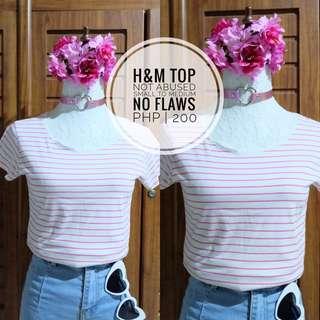 H&M Stripes Pink/White Tshirt PRELOVED