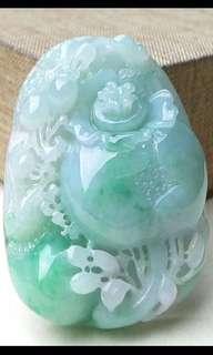 缅甸天然翡翠A货 满色喜鵲登枝