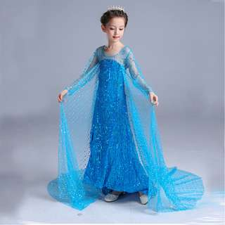 Elegant Princess Frozen Elsa Long Tail Costume Cosplay dress 4-12y