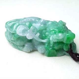 缅甸天然A货翡翠 绿色霸王貔貅手玩件