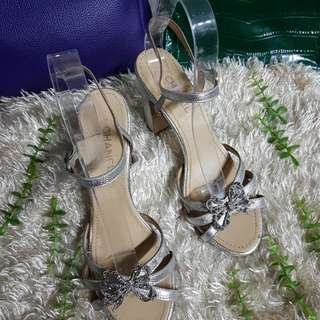 Authentic Chanel Metallic Silver Chunky Heel Strappy Sandals Size 37
