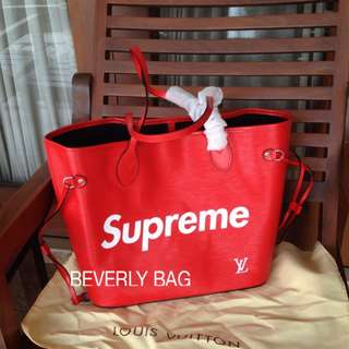 jual tas LV Neverfull Supreme Epi LEATHER MIRROR- red