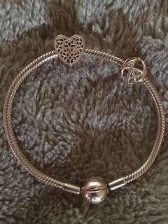 PANDORA Rose Gold Bracelet with Gold Charm