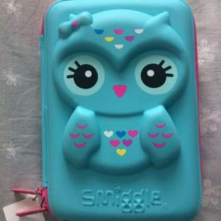 Smiggle Owl Hardtop Pencil Case (Blue Gift Set)