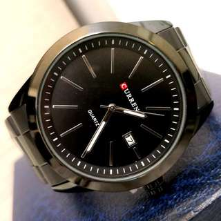 CURREN黑鋼日曆型格鋼帶手錶 Original CURREN Black Steel Calendars Steel Watch