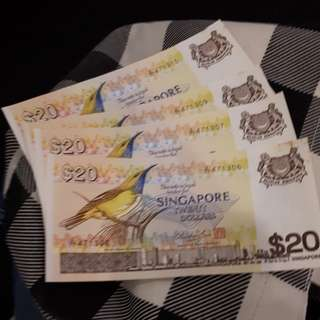 Singapore Bird Series Rare $20 notes