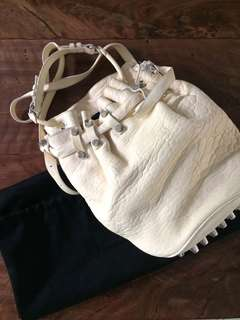 Bnew Authentic Alexander Wang Diego Bucket Bag in Cream/Silver Studs