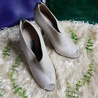 Authentic Prada Nude Leather Ankle Boots Peep Toe Pumps Size 36