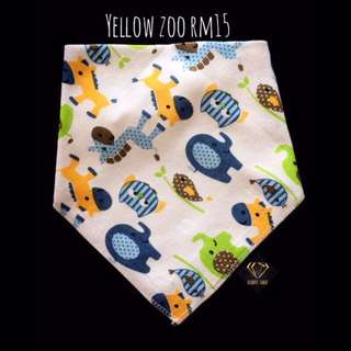 Yellow Zoo Triangle Cotton Bib #Bajet20