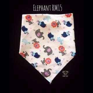 Elephant Triangle Cotton Bib #Bajet20