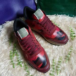 Authentic Valentino Garavani Red Camouflage Rockrunner Sneakers   Fall Winter 2014-2015 Shoe Collection For Womens Size 38