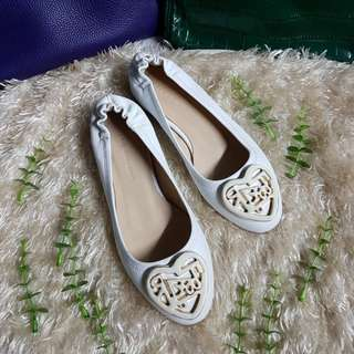 Authentic Fabio Rusconu White Leather With White/Gold Heart Hardware Ballet Flats Size 34