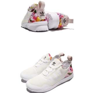 adidas 休閒鞋 ZX Flux ADV 女鞋 愛迪達 三葉草 透氣 網布 花花 米白 粉 白(CG4091)