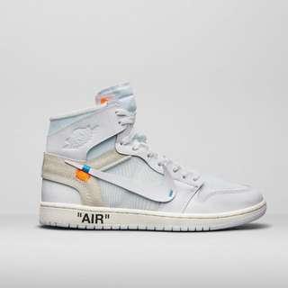 "off white x nike air jordan 1 ""all white"" usa 7"