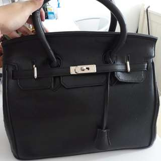 FREE SHIPPING-HERMES LEATHER BLACK TOTE BAG (NOT AUTHENTIC)
