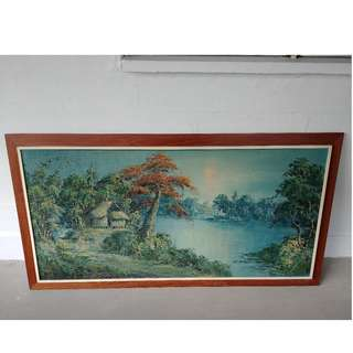 oil painting village + vintage wooden frame ( 54 inch x 30 Inch )