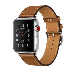 iWatch 3 LTE Hermes爱马仕 橙色皮表带(sell watchband only)