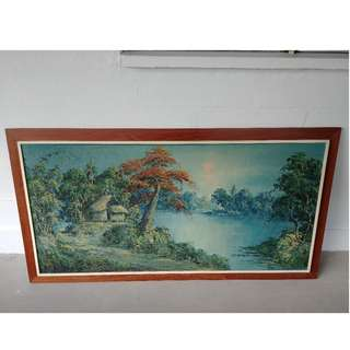 vintage oil painting village + lake + wooden frame ( 54 inch x 30 Inch )
