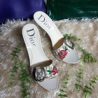 Authentic Christian Dior Mules Sandals Heel Logo CD Embroidered Rose Size 36