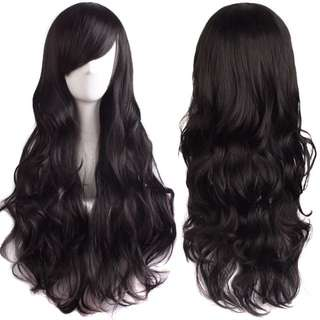 Marshmallow curls side fringe full wig