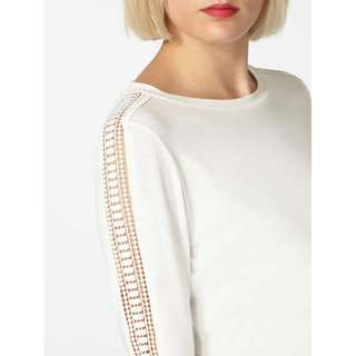 dorothy perkins long sleeve top with crochet detail