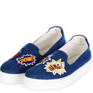 Denim Patched Slip Ons