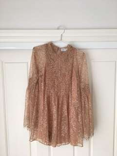 Alice McCall Pale Pink Lace Patterned Lon Sleeved Playsuit