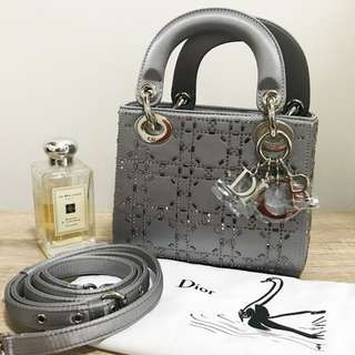 SALE- Lady Dior Grey Satin Mini Bag