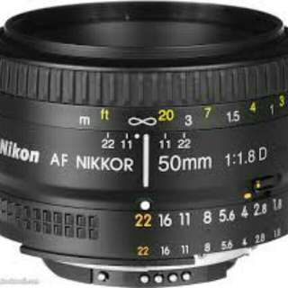 Wanted Nikon/ Canon 50 mm F 1.8 mm len.