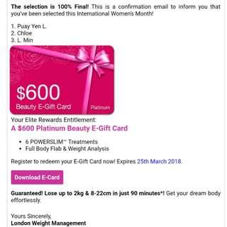$600 Platinum Beauty E-Gift Card