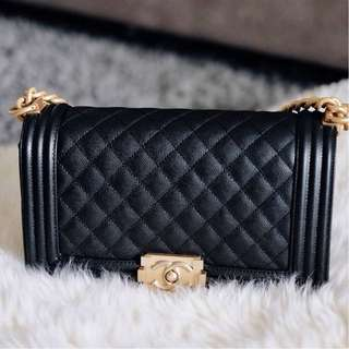 Brand New Chanel Boy Old Medium Black Caviar GHW