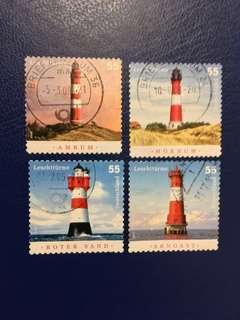 德國已銷燈塔郵票4枚