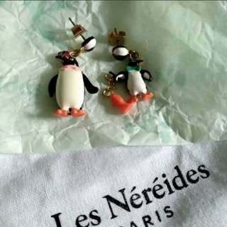 Les Nereides N2 penguin earrings
