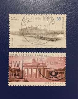德國已銷建築家郵票兩枚