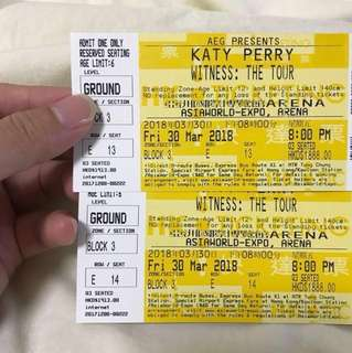 Katy Perry Witness: The Tour concert 演唱會票 原價1888,現轉手1600