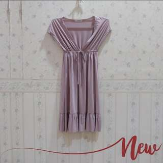 Dress satin ungu muda