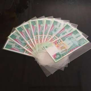 😊 [ 10 Runs ] Ship $5 Notes with Serial Numbers B/25 509950 To B/25 509959 including Nice Fancy Numbers 509950 & 509955 in Brand New Mint Uncirculated Condition