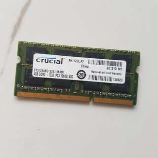 Crucial CT51264BC1339.M16FMR 4GB 2Rx8 1.5V 204-Pin SODIMM PC3-10600S 1333MHz DDR3 Laptop/Notebook Memory