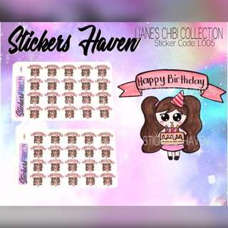 PLANNER STICKERS (Birthday) Lianne - L005