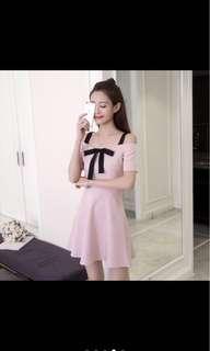 Pink Cold Shoulder Dress with Ribbon (Off Shoulder Dress)