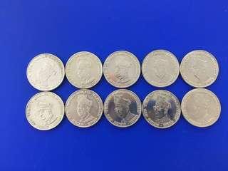 Malaysia 1969 10th Anniversary of Bank Negara Malaysia RM1 coin