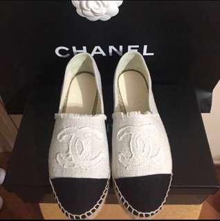 Chanel Espadrilles 黑 白色 布 漁夫鞋 草鞋