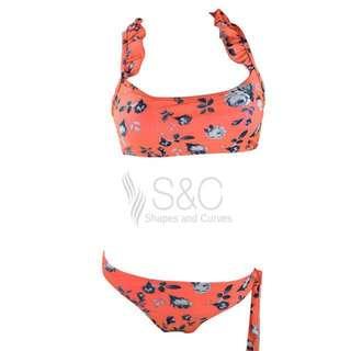 Wild flower ruffle two piece swimsuit