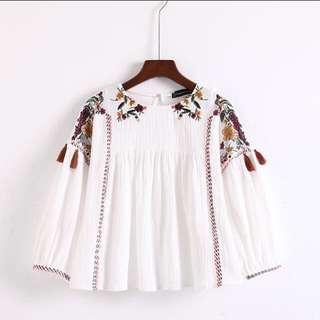 Zara embroidered tassel top