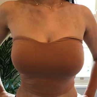 Kookai Strapless Crop Top Caramel Nude
