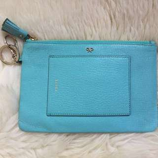 Anya Hindmarch tiffany blue leather pouch