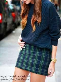 Instock! - BNIP Forest Green x Navy Blue Plaid Checkered A Line Pencil Skirt