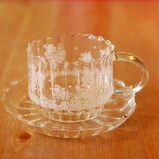 購自日本zakka雜貨白色lace耐熱玻璃杯碟一套