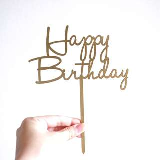 READY STOCK Gold/Silver Happy Birthday Acrylic Cake Topper