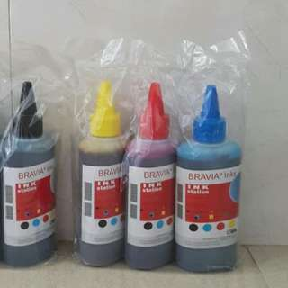 Printer Ink Refill Bravia Inks Ink Station BLACK + COLOR 4 Bottles DIY Made in Germany 100ml NEW